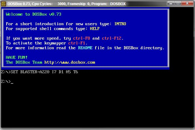 DOS on Windows 7: DOSBOX