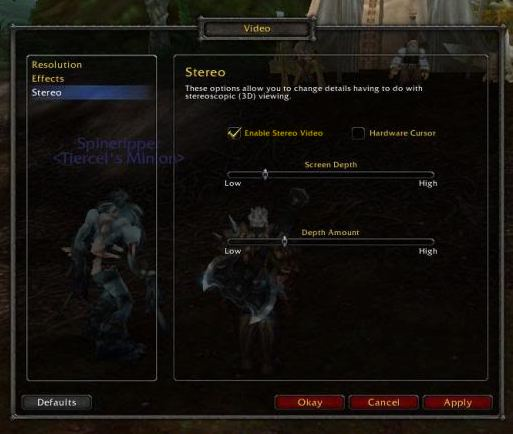 Enable 3D Vision in World of Warcraft