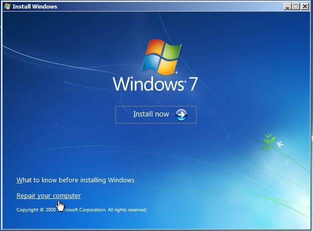 Windows 7 Repair your computer