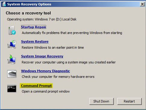 Windows 7 System Recovery Command Prompt