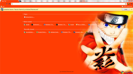 google wallpaper themes. Naruto Chrome Theme #1 Preview