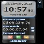 Stop Watch Gadget Including Uptime and System Control Buttons
