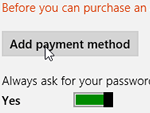 How to add, edit, remove a payment method for the Windows 8 App Store