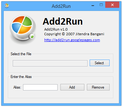 Launch Any program from Windows Run through Add2Run