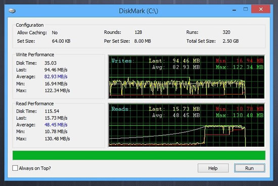 DiskMark read and write speeds