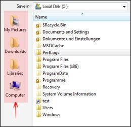 How to change save as location in Windows 7