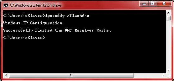 Clear DNS Cache in Windows 7