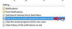 "Enable ""Clear history of recently opened documents on exit"" in Windows 8 to maintain privacy"