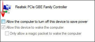 "Disable ""Allow computer to turn off this device to save power"""