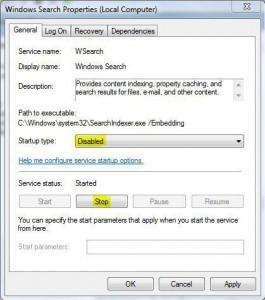Disable Windows 7 Indexing