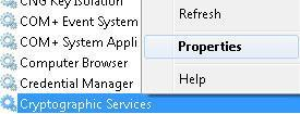 Enable Cryptographic Service in Windows 7