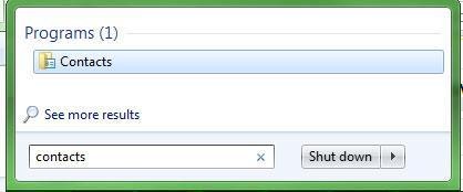How To Find Windows Contacts in Windows 7