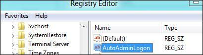 Registry Tweak For Automatic Windows 8 Logon