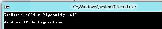 How to find MAC address in Windows 8