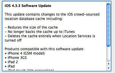 iOS 4.3.3 Fixes iPhone Location Tracking