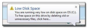 How to disable low disk space warning in Windows 7