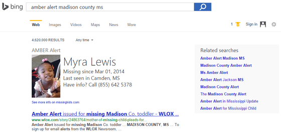 Bing Results To Include AMBER Alerts and More Features