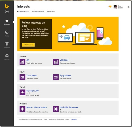 Microsoft Shows Users How To Share Interests With Bing For Bing Cards To Work
