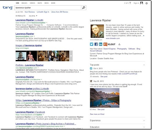 Search Results More Personal With Bing and Klout