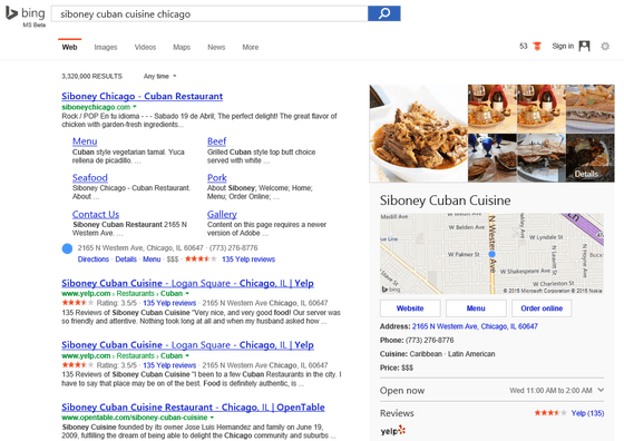 Bing Brings Ordering Food and Hotel Carousels To The Web