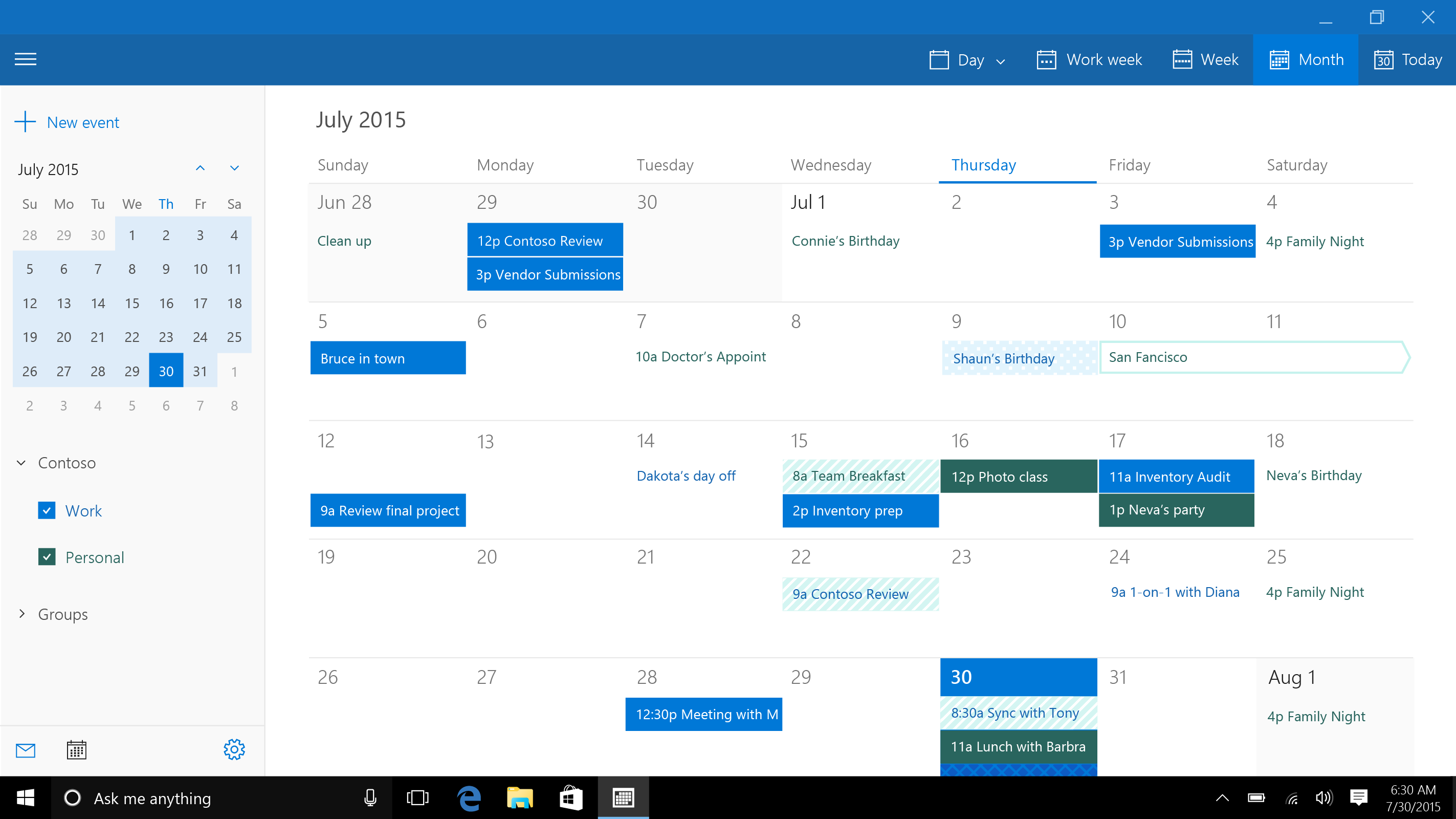 Microsoft Shows Off New Calendar App In Windows 10