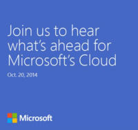 Microsoft Holding October 20th 2014 Event For The Cloud