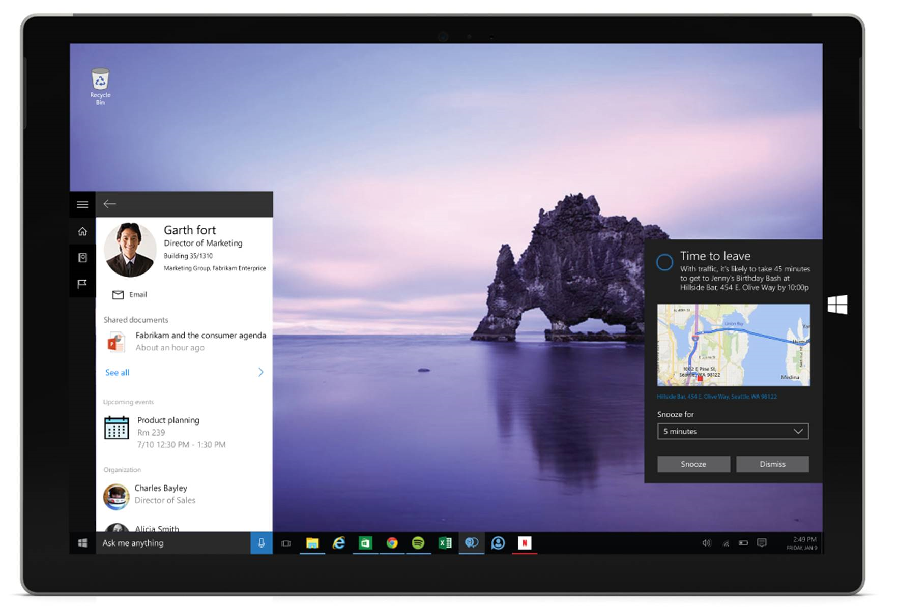 Microsoft's Cortana Now Shown With Office 365 Integration With Rich Insights