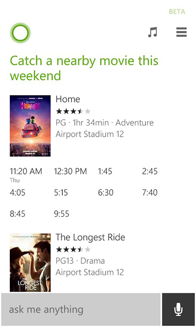 Microsoft Updates Cortana With Movie Times and Updates