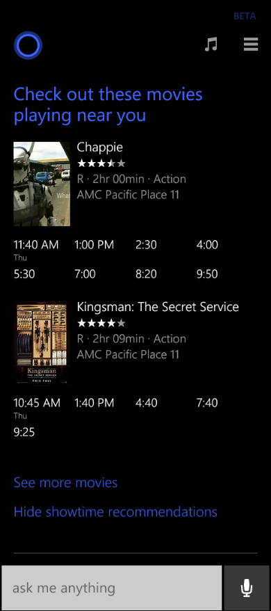 See Movie Recommendations and Showtimes With Microsoft Cortana Update For Windows Phone 8.1