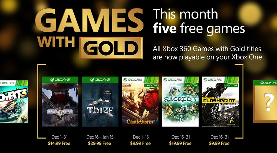 Microsoft Gives 5 Free Games To Xbox Live Gold