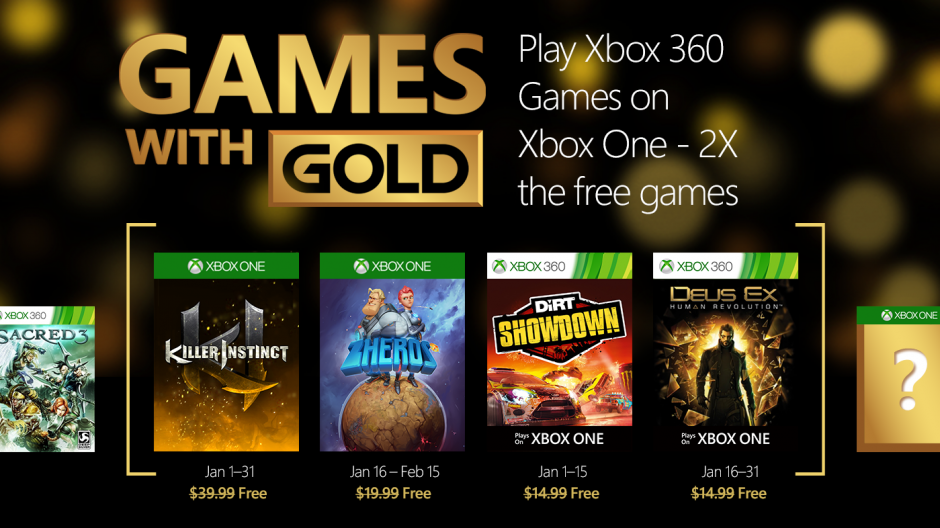 Microsoft Announces January 2016 Games With Gold