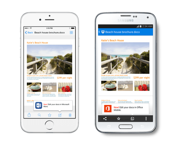Microsoft Office Mobile Apps Get Full Dropbox Functionality