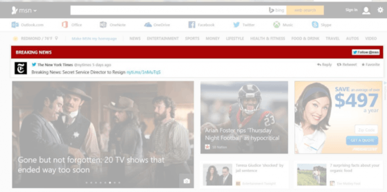 Microsoft's MSN Gets Live Tweets In Breaking News Section