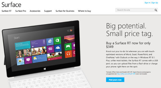 Surface RT Cuts Official at $349