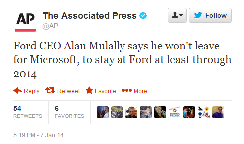 Alan Mulally Issues Statement Regarding Microsoft CEO Role