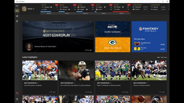 Microsoft Debuts NFL On Windows 10 App