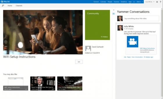 Microsoft Shows Off Office 365 Video With Yammer Integration