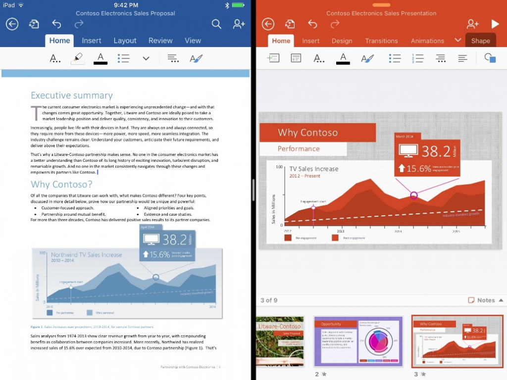 Microsoft Officfe Updates Let iPad users run two Office Apps Simultaneously