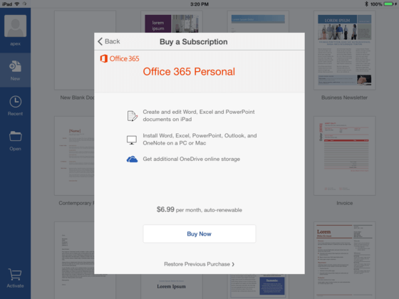 Microsoft Gives Office 365 Personal A Spin On iPad