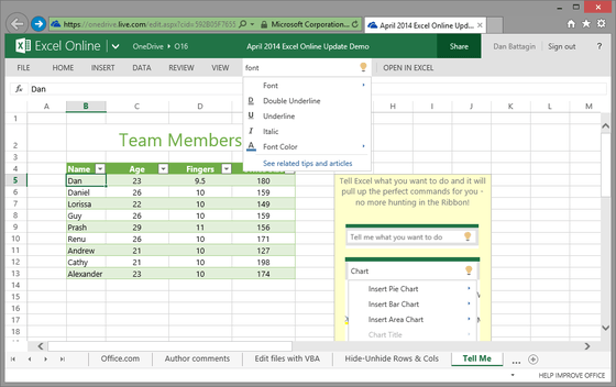 Microsoft Updates Excel Online Product For Online Users