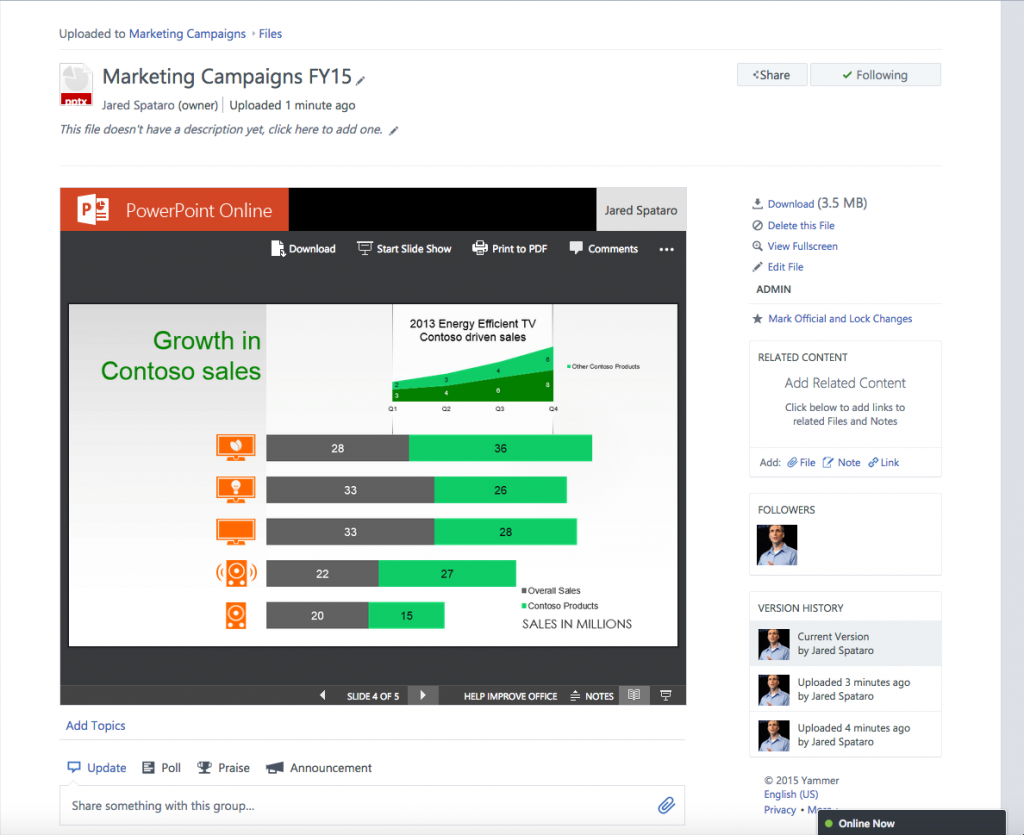 Microsoft Shows Off Office Online Updates With Yammer Updates