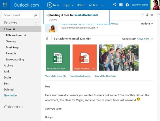 Microsoft Issues Email Attachment Update With Outlook.com For OneDrive