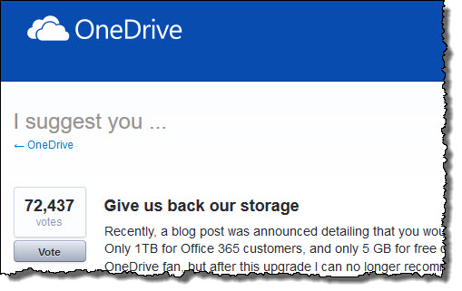 Microsoft Fans Upset About OneDrive Storage Losses