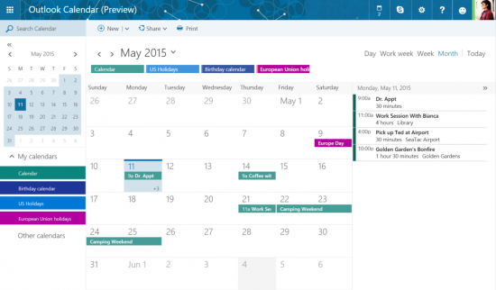 Microsoft Gives Users A New Calendar Feature In Outlook.com