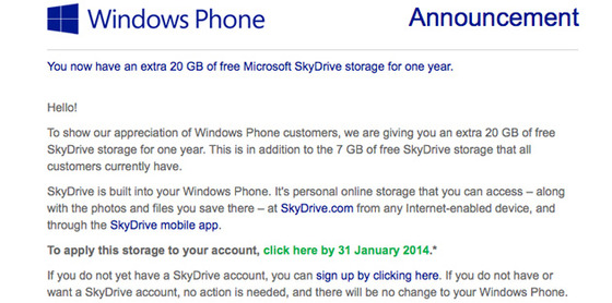 Windows Phone Users Get 20GB Extra Storage On SkyDrive