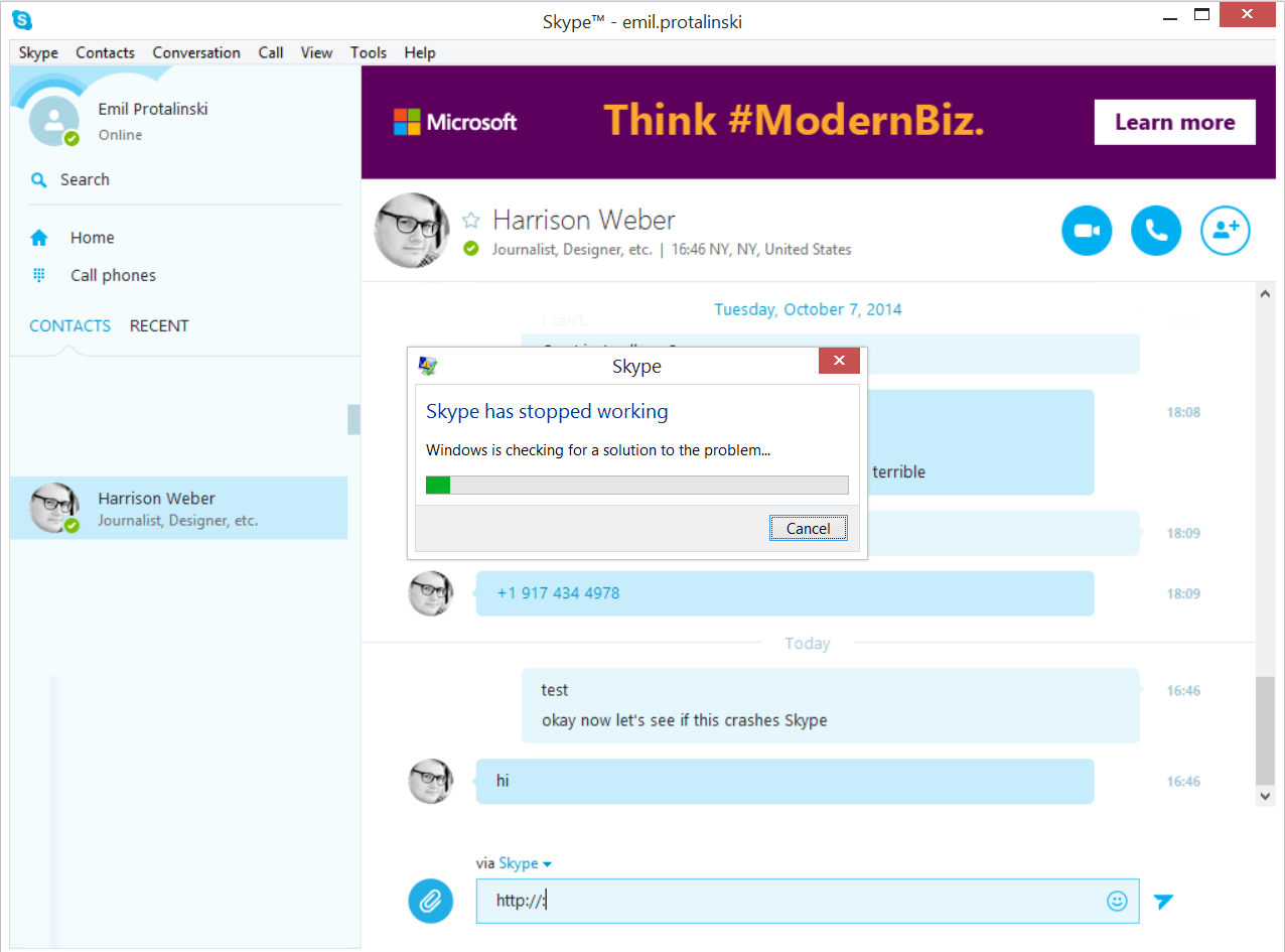 Microsoft's Skype Hit With Crash Bug Noticed By Venturebeat In Pic