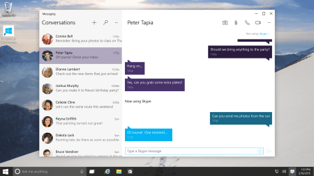 Microsoft's Windows 10 Lets Users Send Skype Messages From Taskbar