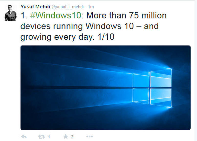 Microsoft Announces 75 Million Devices Using Windows 10