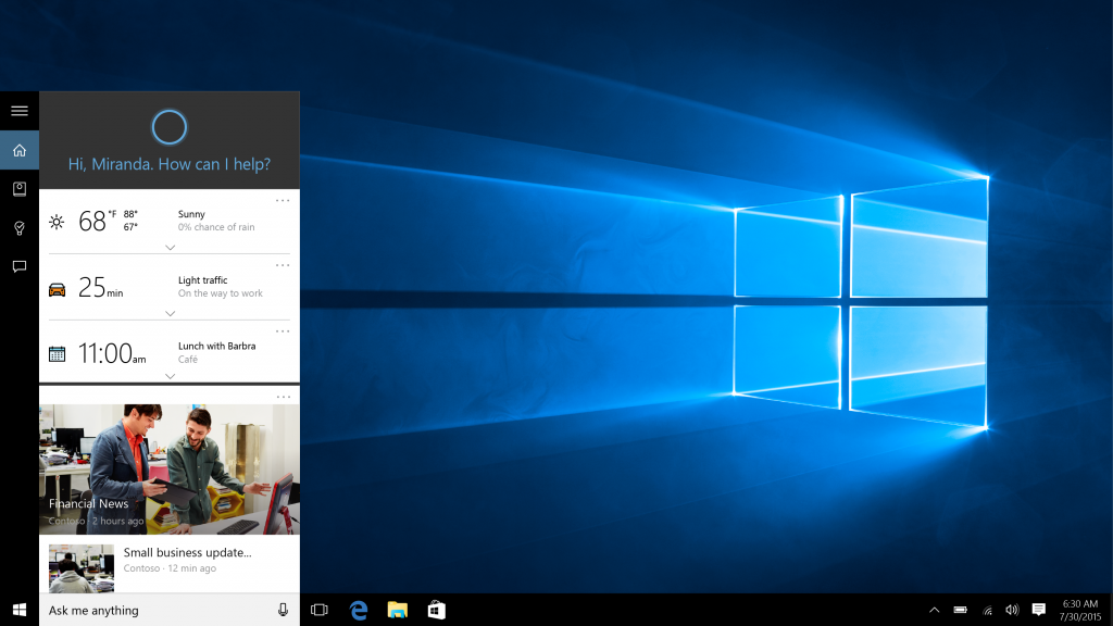 Microsoft's Cortana Shines On Windows 10
