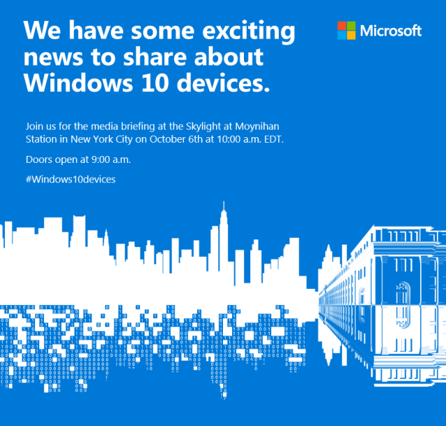 Microsoft Issues Invites To Windows 10 Devices Event On 10/6